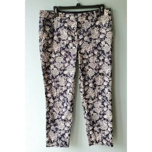 Ann Taylor Cambridge Crop 8 Slim Navy Floral Pants